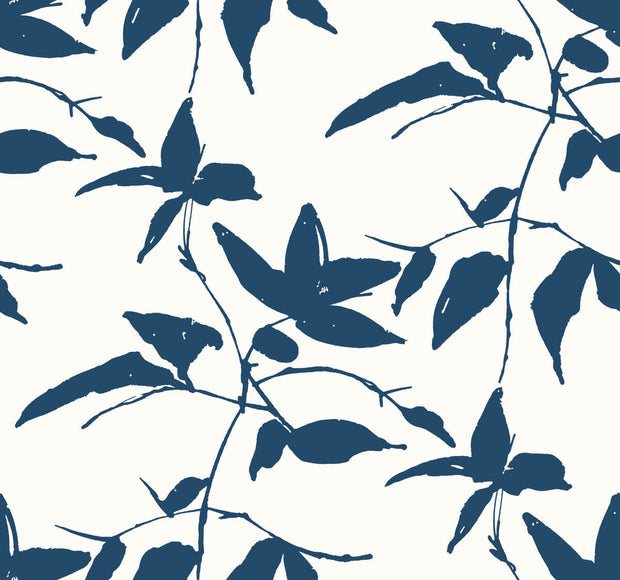 Ronald Redding Persimmon Leaf Wallpaper - Blue & White