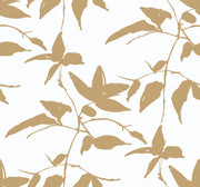 Ronald Redding Persimmon Leaf Wallpaper - Gold & White