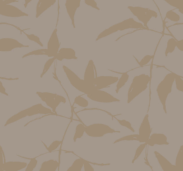 Ronald Redding Persimmon Leaf Wallpaper - Gold & Taupe