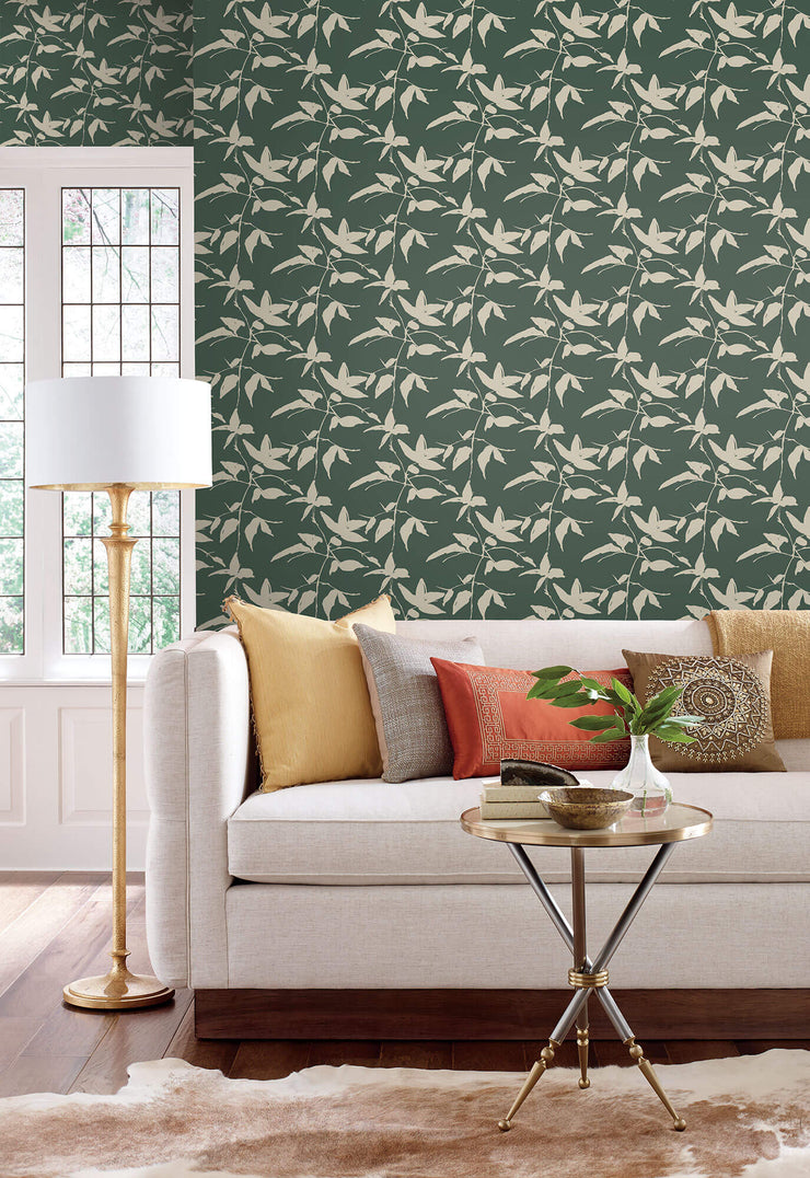 Ronald Redding Persimmon Leaf Wallpaper - Dark Green