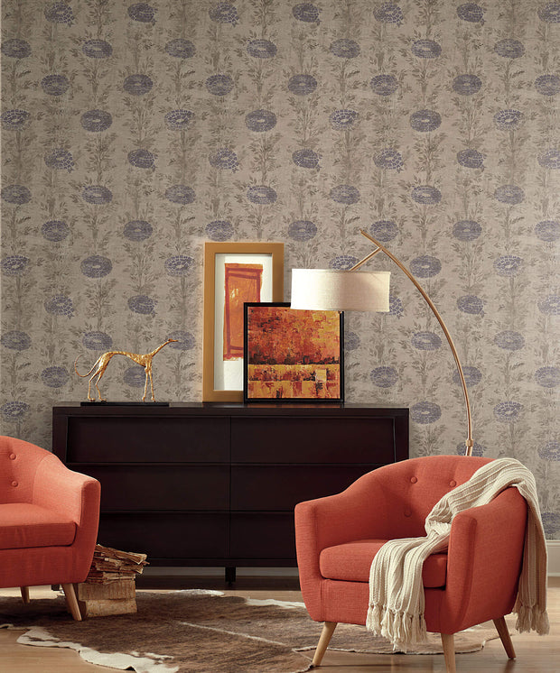Ronald Redding French Marigold Wallpaper - Tan & Purple