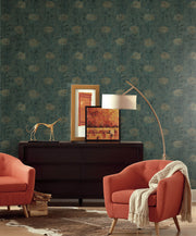 Ronald Redding French Marigold Wallpaper - Green, Gold