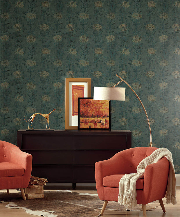 Ronald Redding French Marigold Wallpaper - Green & Gold