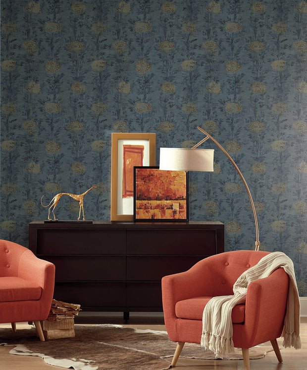 Ronald Redding French Marigold Wallpaper - Blue & Gold