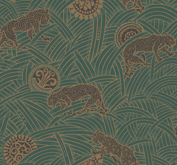 Ronald Redding Tibetan Tigers Wallpaper - Green, Black, Gold
