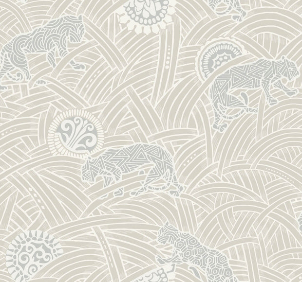 Ronald Redding Tibetan Tigers Wallpaper - White & Grey