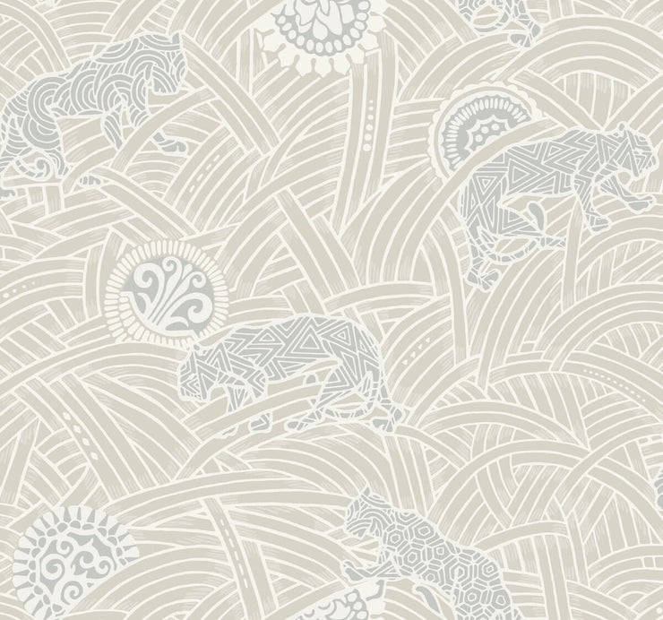 Ronald Redding Tibetan Tigers Wallpaper - White, Grey