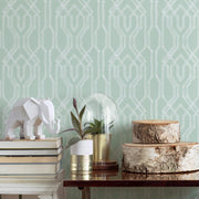 Ronald Redding Oriental Lattice Wallpaper - Green & White