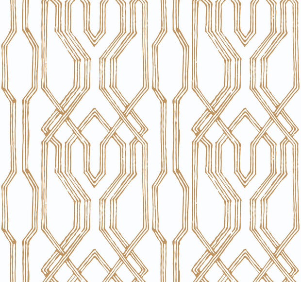 Ronald Redding Oriental Lattice Wallpaper - White & Gold