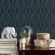 Ronald Redding Oriental Lattice Wallpaper - Blue, Gold