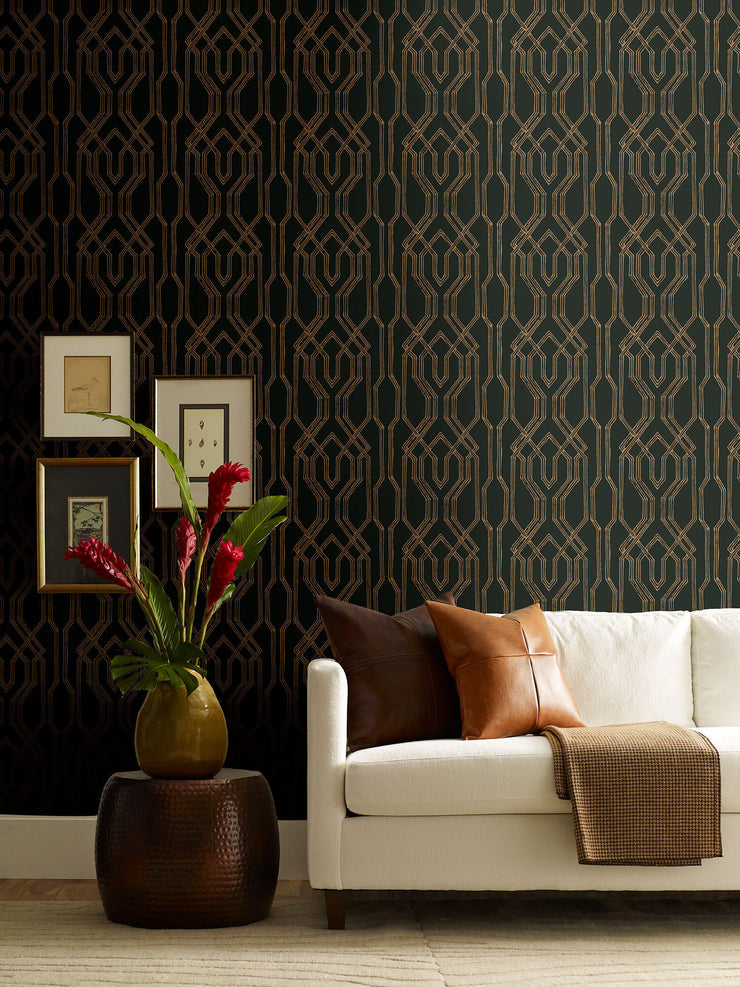 Ronald Redding Oriental Lattice Wallpaper - Black, Gold