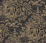 Ronald Redding Chinoiserie Wallpaper - Black, Gold