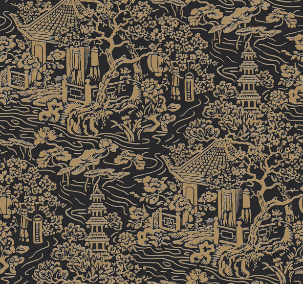 Ronald Redding Chinoiserie Wallpaper - Black & Gold