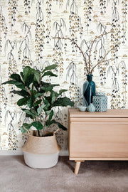 Ronald Redding Willow Branches Wallpaper - White, Black, Gold
