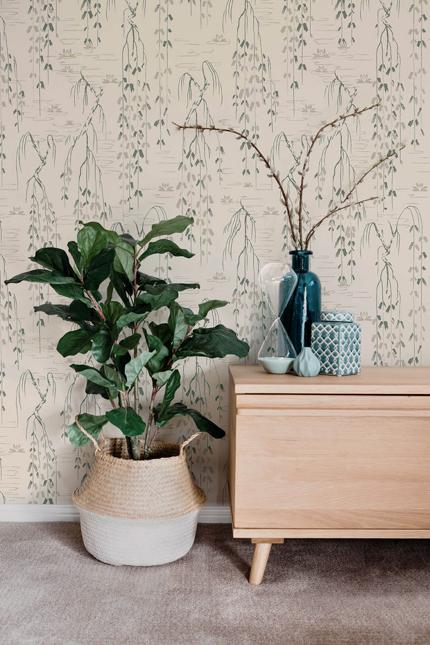 Ronald Redding Willow Branches Wallpaper - Green & Beige