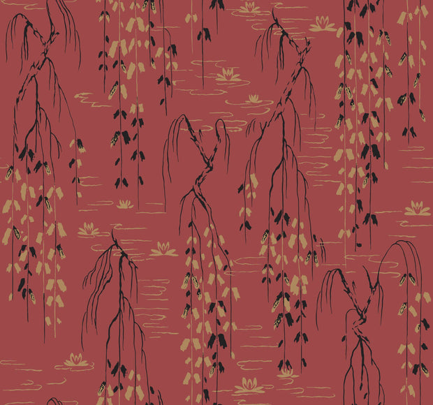 Ronald Redding Willow Branches Wallpaper - Red, Black, Gold