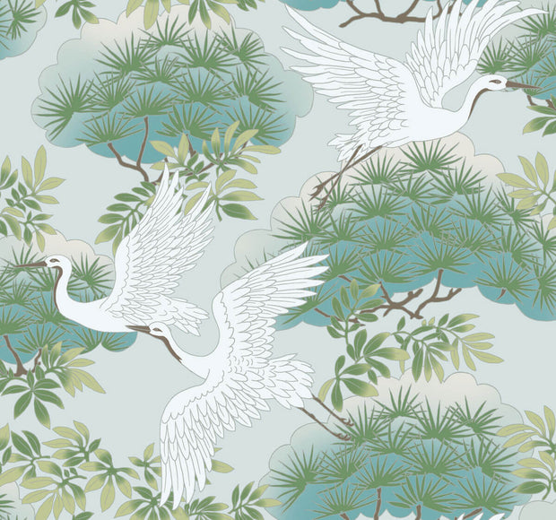 Ronald Redding Sprig & Heron Wallpaper - Teal