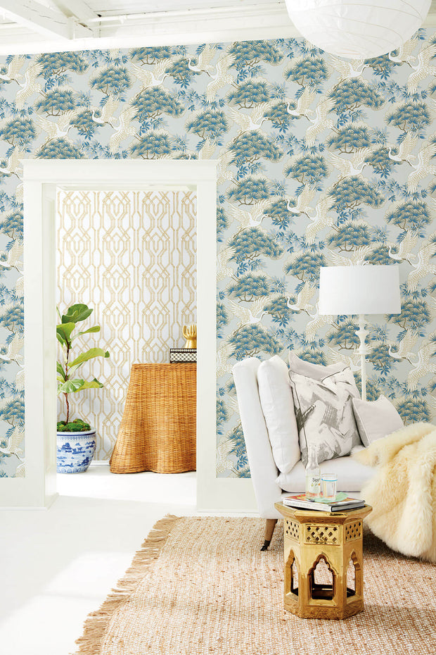 Ronald Redding Sprig & Heron Wallpaper - Light Blue