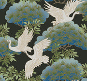 Ronald Redding Sprig & Heron Wallpaper - Black