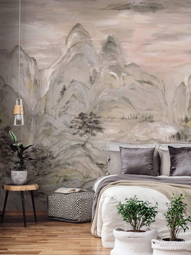 Ronald Redding Misty Mountain (3 Panel) Wallpaper Mural - Taupe