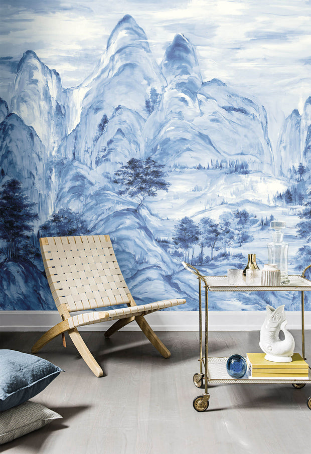 Ronald Redding Misty Mountain (3 Panel) Wallpaper Mural - Blue