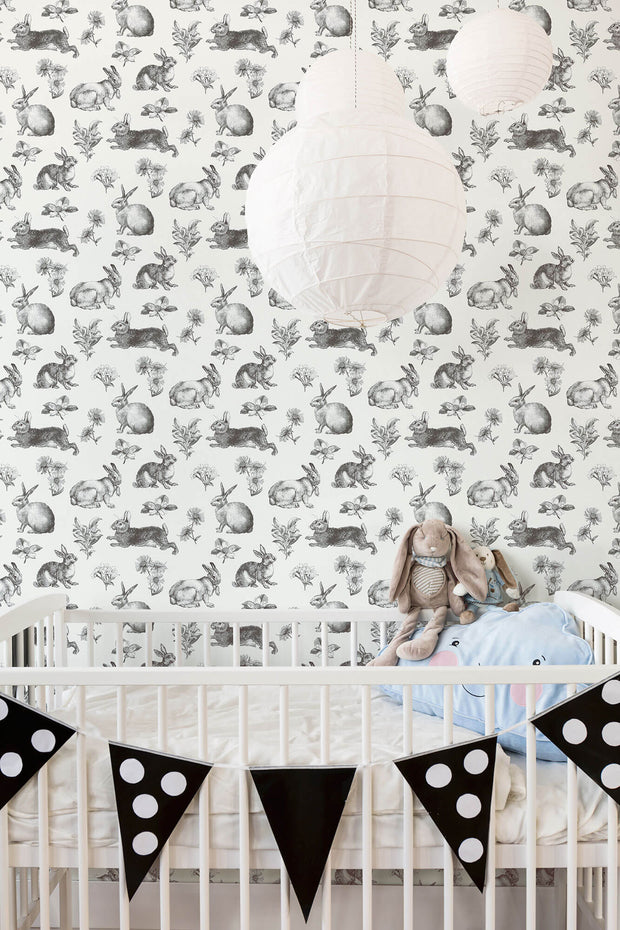 AT4263 Nursery Bunny Toile Wallpaper York Black White