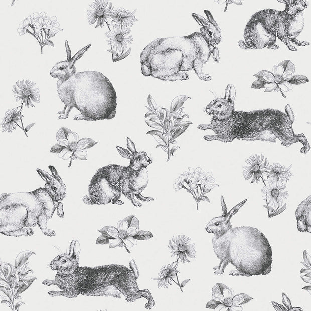 AT4263 Bunny Toile Wallpaper York Black White