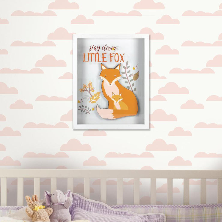 "Stay Clever Orange Little Fox Shadowbox - 8""x10"""