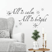 All is Calm, All is Bright Quote Christmas Wall Decal