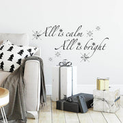 All is Calm, All is Bright Quote Christmas Wall Decals