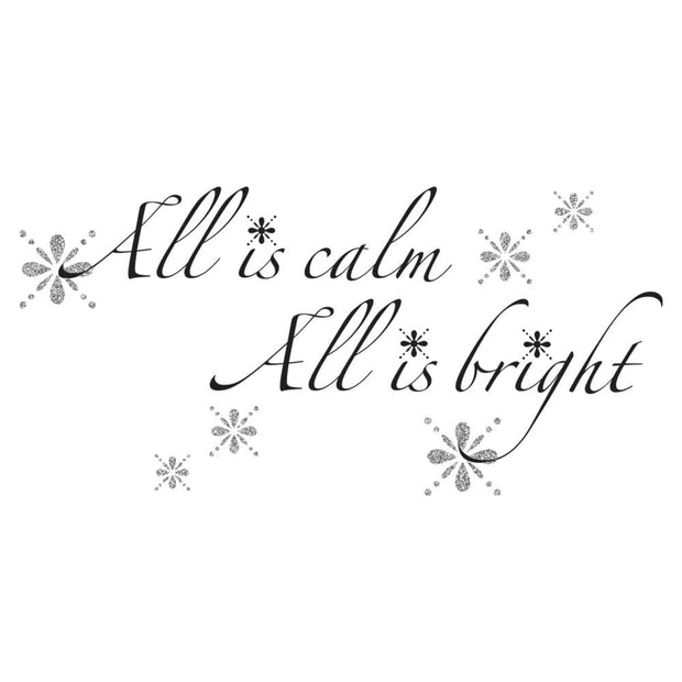 All is Calm, All is Bright Quote Christmas Wall Sticker