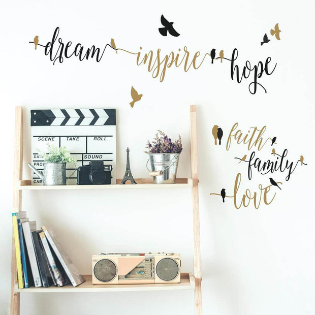 Black and Gold Inspirational Words with Birds Wall Decals