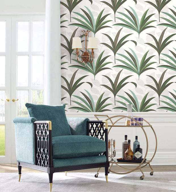 Antonina Vella El Morocco Palm Wallpaper - White & Green