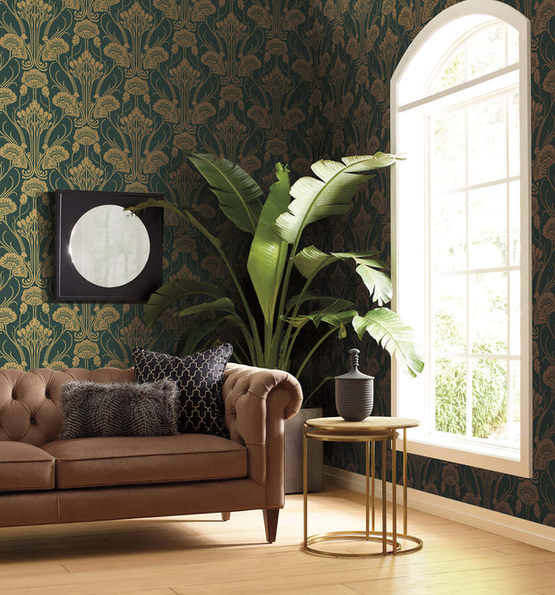 Antonina Vella Nouveau Damask Wallpaper - Green & Gold
