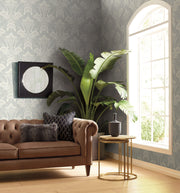 Antonina Vella Nouveau Damask Wallpaper - Gray & White