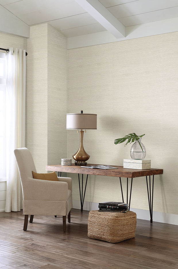Grasscloth Resource Library Horizontal Weave Wallpaper - Beige