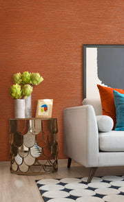 Ramie Weave Wallpaper - Orange