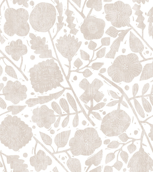 Christiane Lemieux Pernelle Wallpaper - Taupe On White