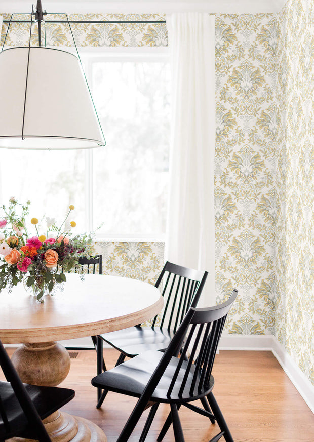 Bold Brocade Wallpaper - Yellow