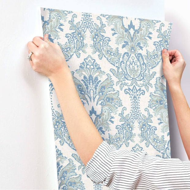 Bold Brocade Wallpaper - Blue