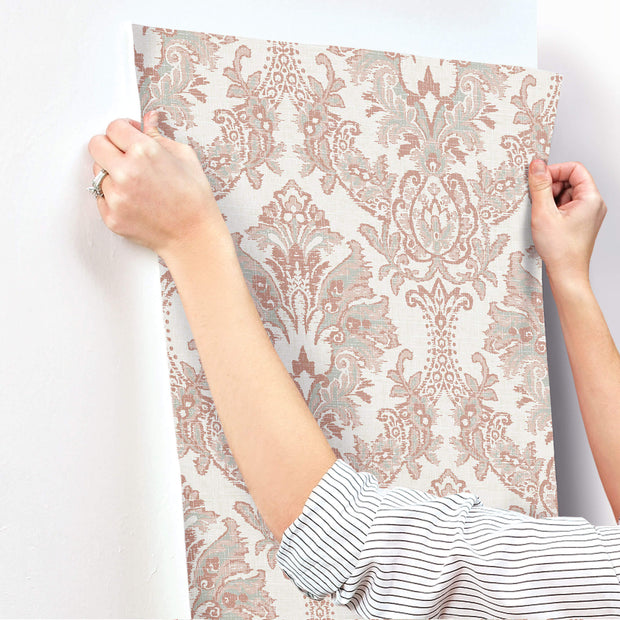 Bold Brocade Wallpaper - Red & Grey