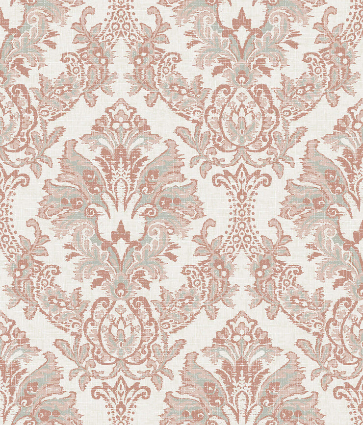 Bold Brocade Wallpaper - Red/Grey
