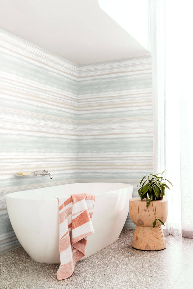 Fleeting Horizon Stripe Wallpaper - Green & Beige