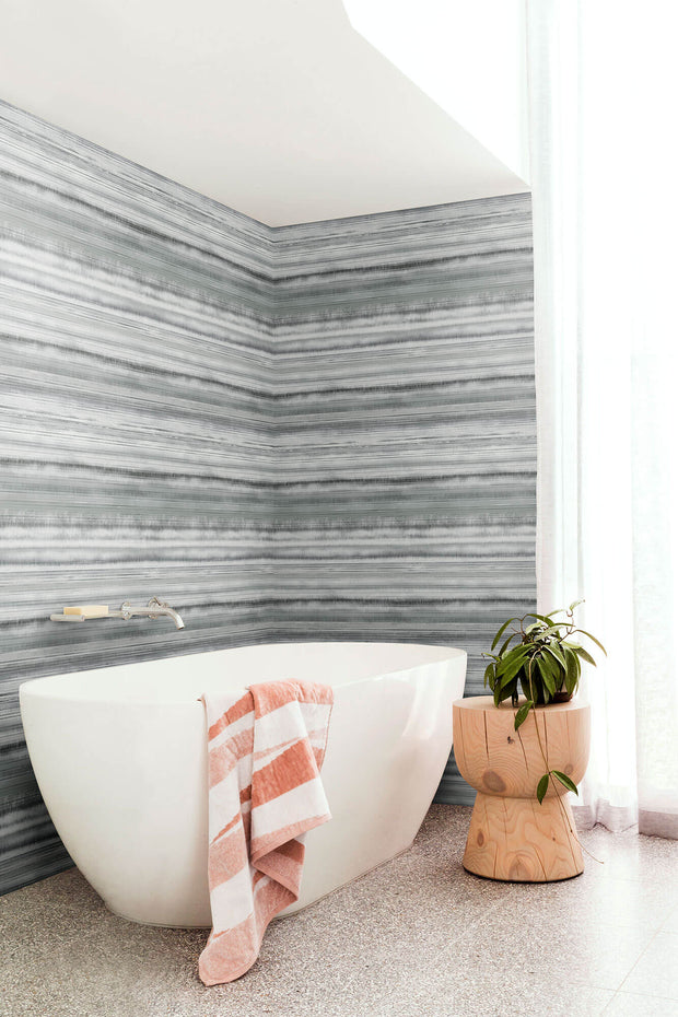 Fleeting Horizon Stripe Wallpaper - Dark Grey