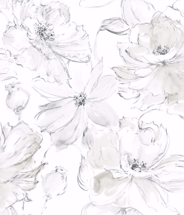 Floral Dreams Wallpaper - Gray & White