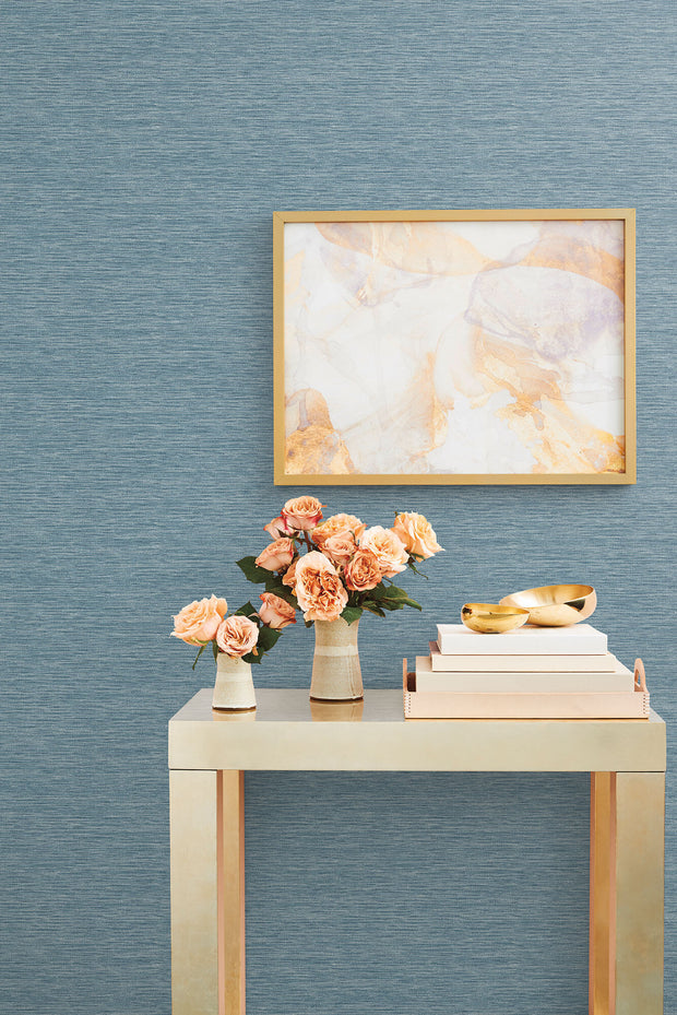 Challis Woven Wallpaper - Blue
