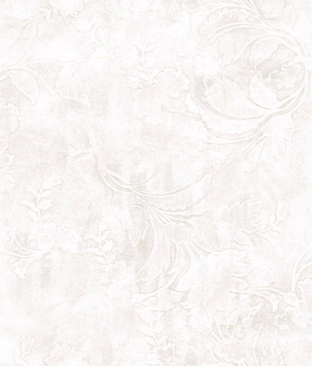 Entablature Scroll Wallpaper - White