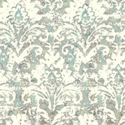 Batik Damask Wallpaper - Blue & Grey