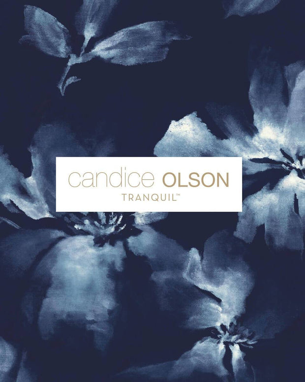 Candice Olson Tranquil Midnight Blooms Wallpaper - Navy blue