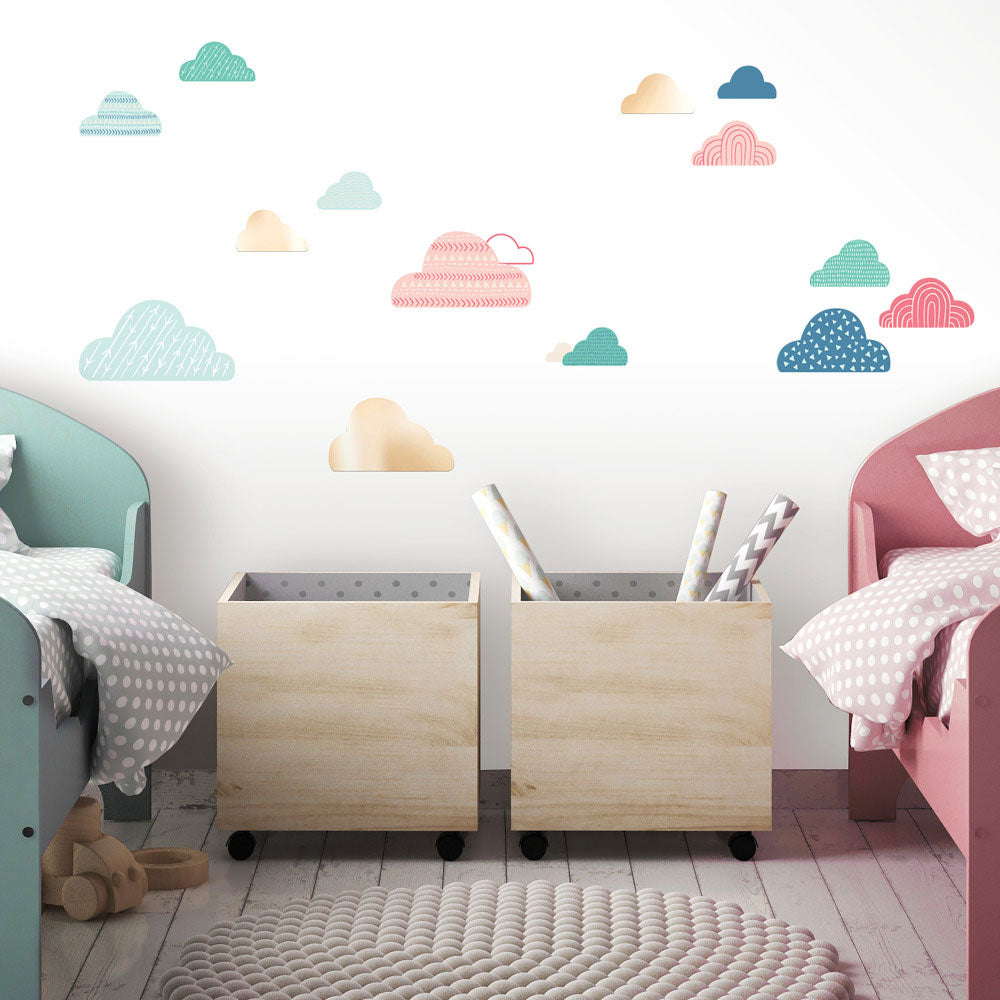 Colorful Clouds Peel And Stick Wall Decals With Mirrors Us Wall Decor